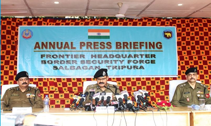 Inspector General of Border Security Force (BSF) Tripura frontier Sushanta Nath addressing a press conference on Thursday