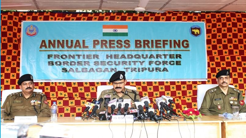 Tripura: Barbed wire fencing stopped in patches after Bangladesh flags objection