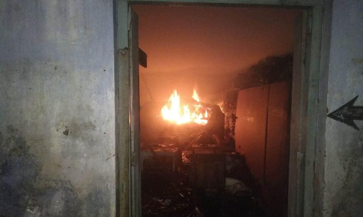 A massive fire broke out at the directorate of land records and settlement office in Palace compound area on Monday