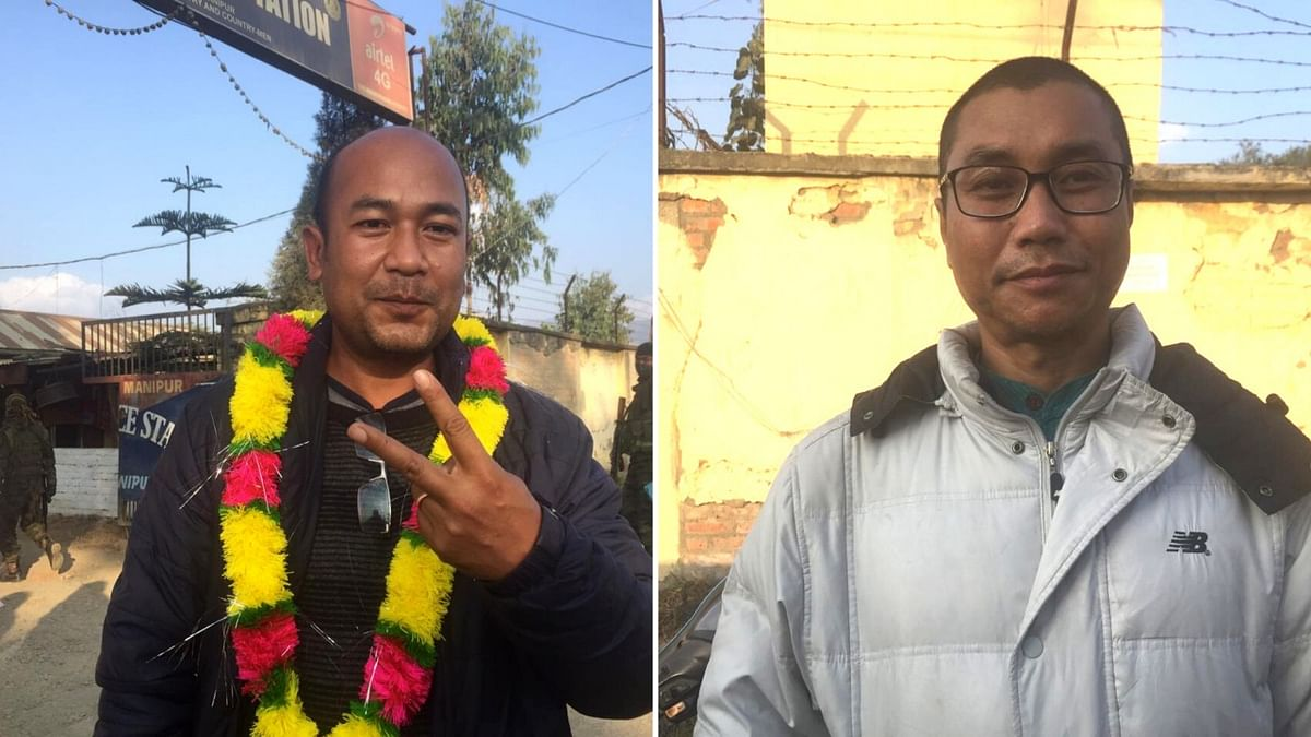 Executive editor of Frontier Manipur Paojel Chaoba (L) and editor-in-chief Sadokpam Dhiren (R)