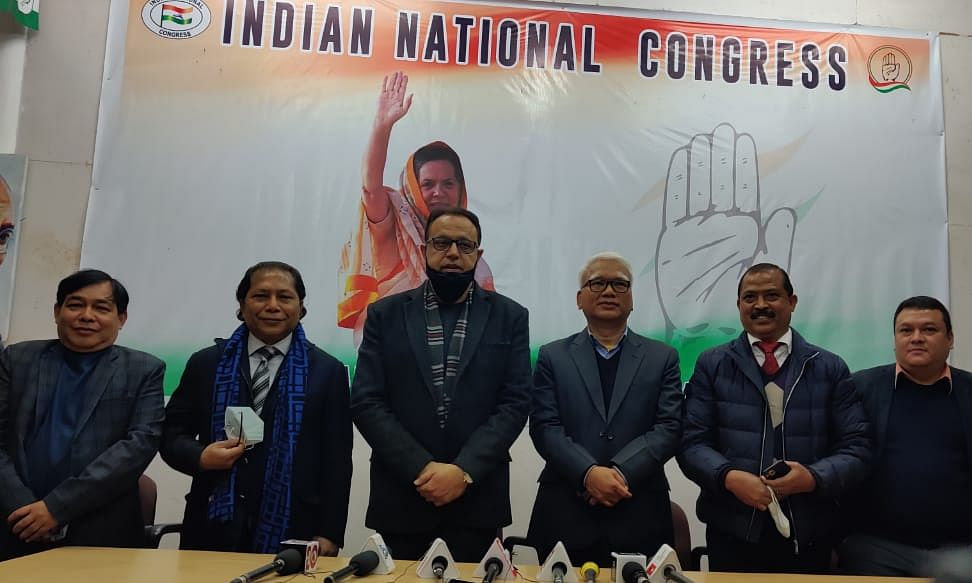 Leaders of Congress at Congress Bhawan on Tuesday