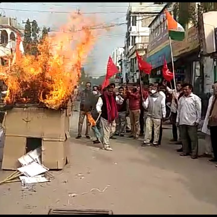 Tripura: Left organisations burn copies of farm laws on Makar Sankranti