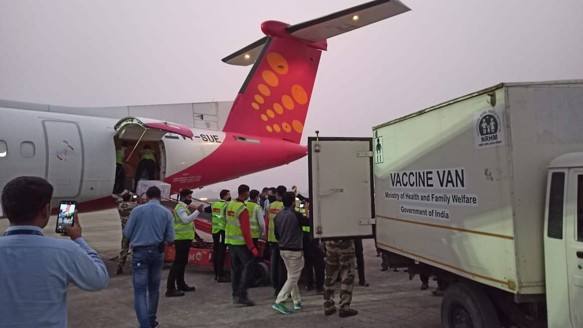 The first flight carrying Covidshield vaccine reached MBB airport in Agartala on Wednesday