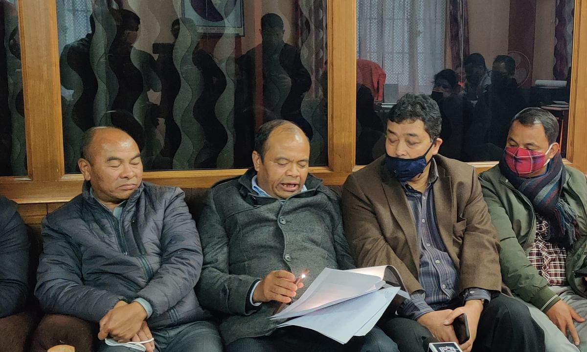 Members of UDF during a briefing on Tuesday at KHADC, Shillong