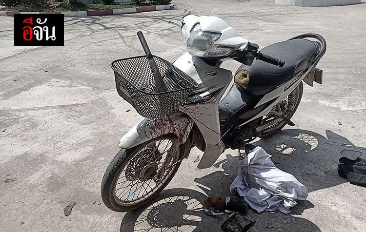 รถจักรยานยนต์ที่ นายวิเชียรใช้เดินทางหลังก่อเหตุ ฆ่าตัดหัว