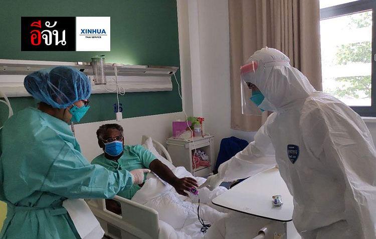 ผู้เชี่ยวชาญชาวจีนตรวจอาการผู้ป่วยโรคโควิด-19 ที่โรงพยาบาลมิตรภาพ ในนครหลวงเวียงจันทน์ของ สปป.ลาว