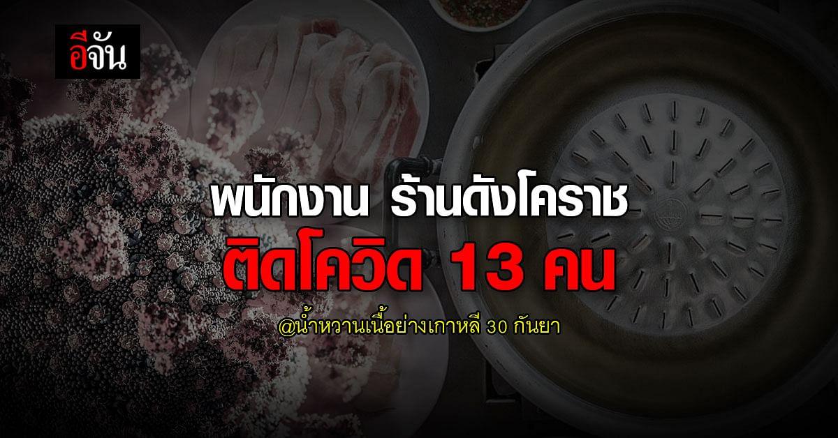 ใครไปเช็กด่วน! น้ำหวานเนื้อย่างเกาหลี โคราช พนักงานติดโควิด 13 คน
