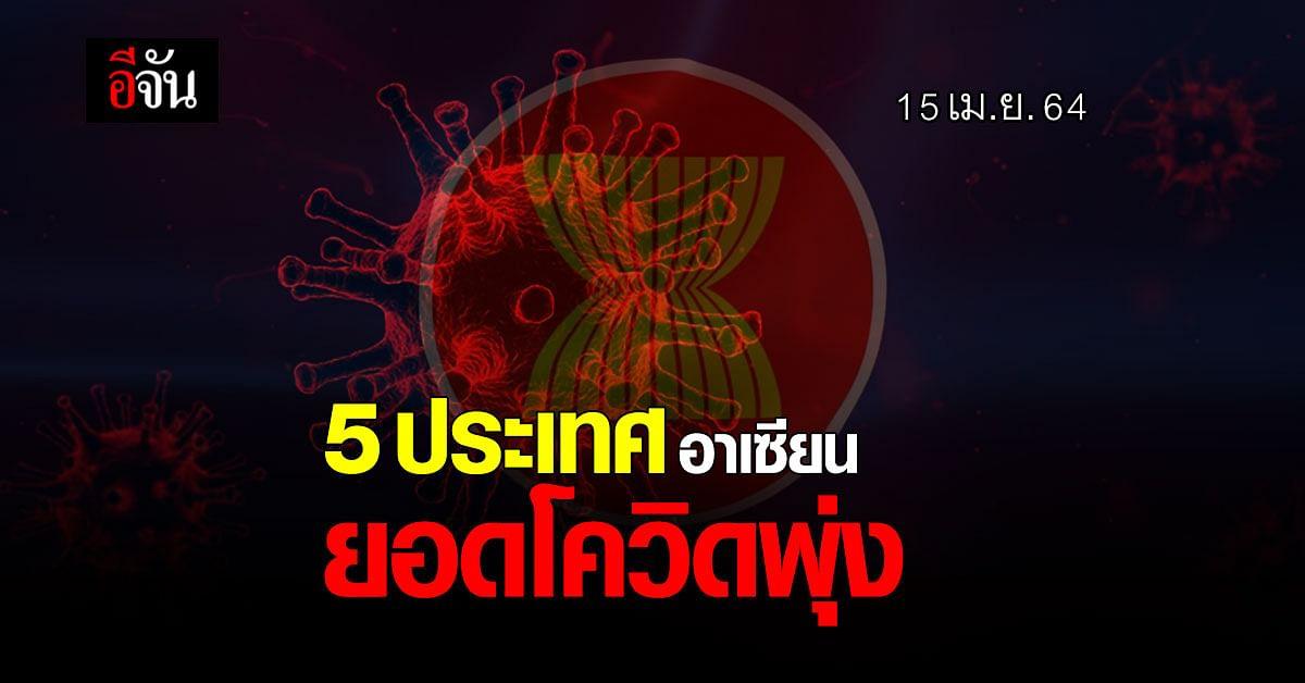 ส่อง 5 ประเทศ อาเซียน ใกล้ไทย อ่วม ยอดโควิด 15 เม.ย.64  พุ่งไม่หยุด