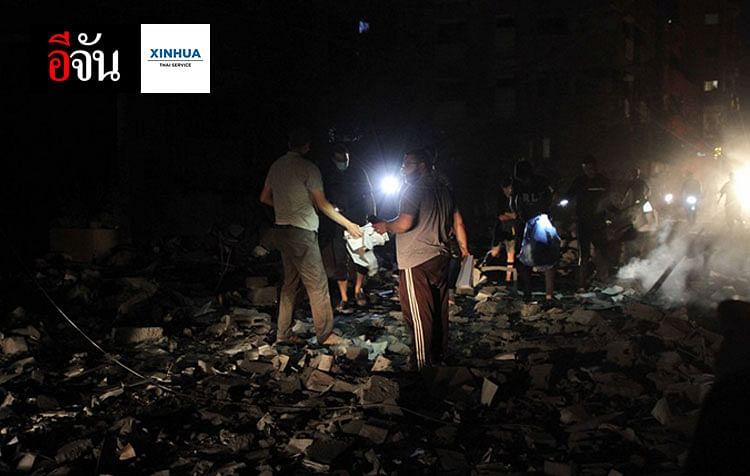 ความเสียหายที่เมืองโฮโลนทางตอนกลางของอิสราเอลซึ่งถูกยิงจรวดถล่มจากฉนวนกาซา วันที่ 11 พ.ค. 2564