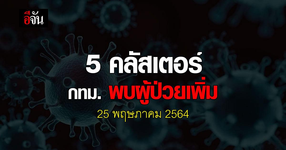 ศบค. เผย 5 คลัสเตอร์ กทม. พบผู้ป่วยเพิ่ม วันนี้ 25 พฤษภาคม 2564
