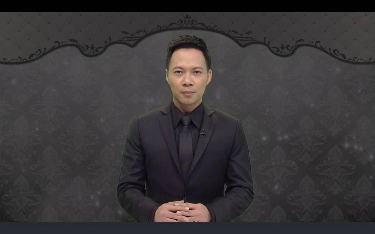วีรศักดิ์ ขอบเขต ขณะอ่านแถลงการณ์สำนักพระราชวัง เมื่อวันที่ 13 ตุลาคม 2559