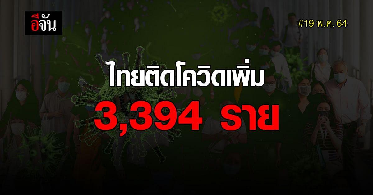 19 พ.ค.64 ไทยติดโควิด 3,394 ราย ตาย 25 ราย