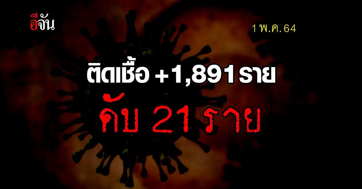 ไทยติดโควิดเพิ่ม  1,891 ราย เสียชีวิต 21 ราย