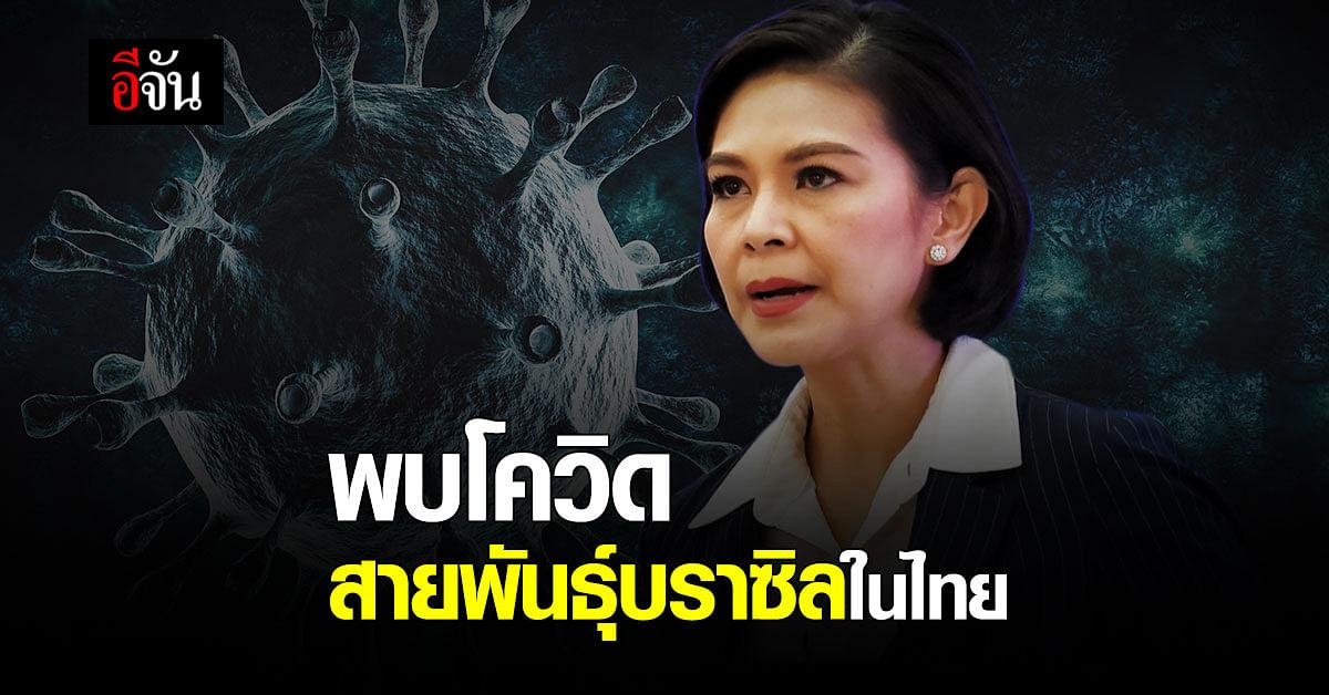 ศบค.ยอมรับ พบโควิดสายพันธุ์บราซิลในไทย ย้ำชัด คุมได้ ผู้ป่วยอยู่กักตัวใน SQ