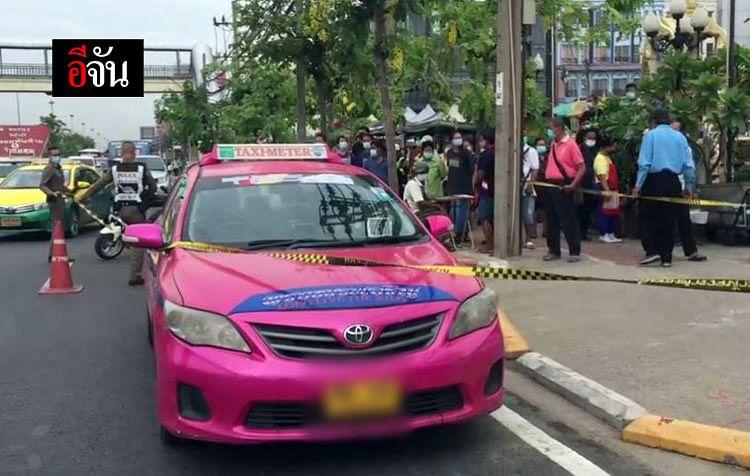 รถแท็กซี่ที่เกิดเหตุบริเวณริมถนนพระราม 2