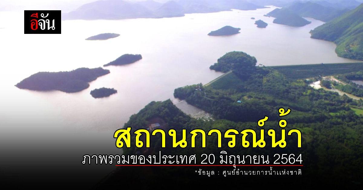 สถานการณ์น้ำ ภาพรวมของประเทศ วันที่ 20 มิถุนายน 2564