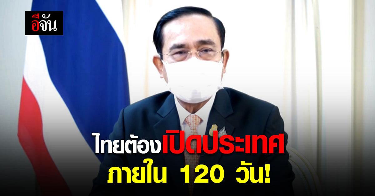 นายกแถลงด่วน สถานการณ์โควิดในไทย ตั้งเป้า ไทยต้องเปิดประเทศ ภายใน 120 วัน