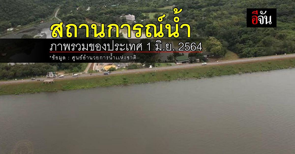 สถานการณ์น้ำ ภาพรวมของประเทศ วันที่ 1 มิถุนายน 2564