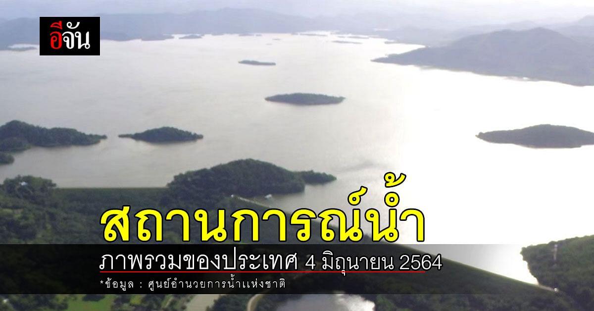 สถานการณ์น้ำ ภาพรวมของประเทศ วันที่ 4 มิถุนายน 2564