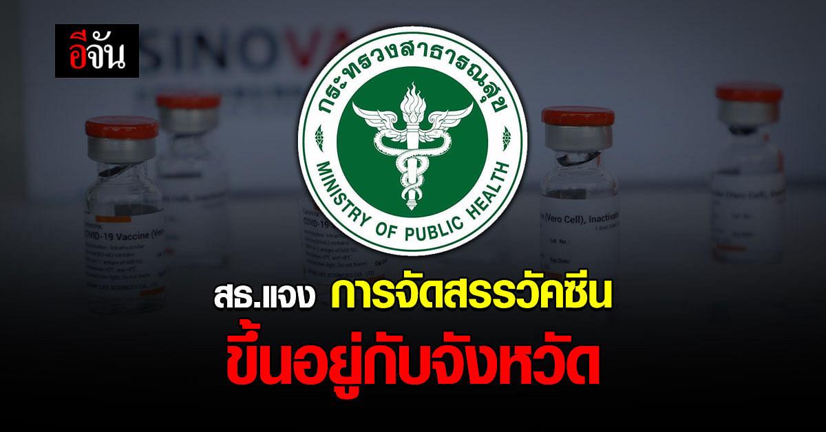 กระทรวงสาธารณสุข ยืนยันจัดสรร วัคซีนโควิดให้ ทุกจังหวัดเเล้ว รวมทั้ง กรุงเทพ