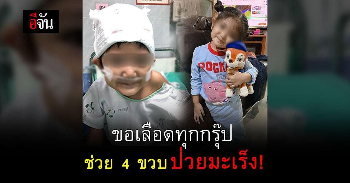น้องอลิส 4 ขวบ ป่วยเป็นมะเร็งต่อมหมวกไต ระยะสุดท้าย ต้องการเลือดทุกกรุ๊ปในการรักษา