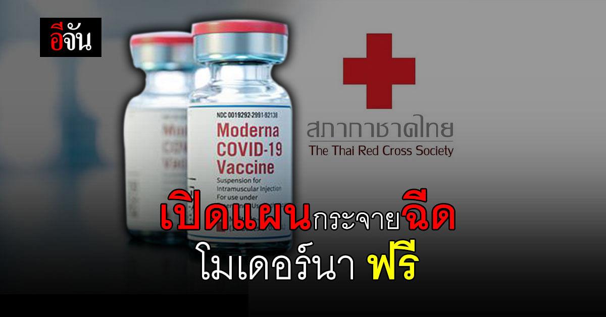 สภากาชาดไทย เปิดแผนกระจายวัคซีน โมเดอร์นา ฉีดฟรี ประชาชนกลุ่มเป้าหมาย