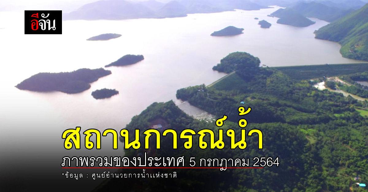 สถานการณ์น้ำ ภาพรวมของประเทศ วันที่ 5 กรกฎาคม 2564