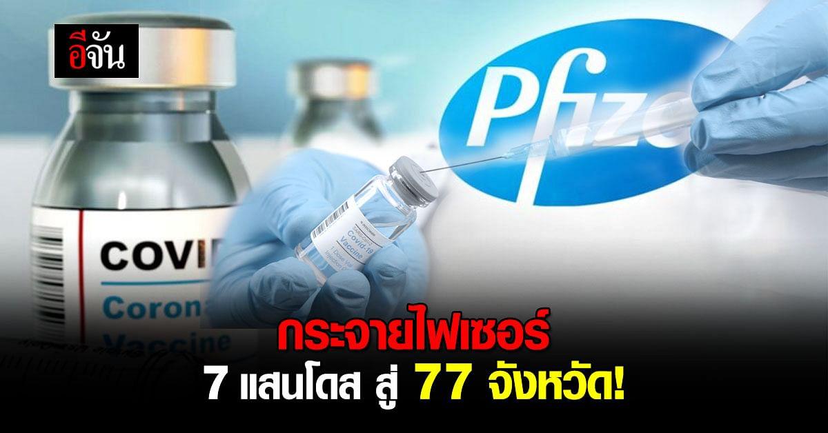 กรมควบคุมโรค จัดส่งวัคซีนไฟเซอร์  7 แสนโดส ให้ด่านหน้า 77 จังหวัด