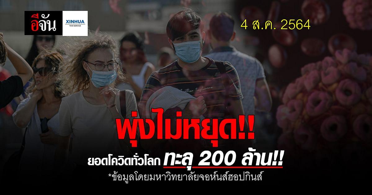พุ่งต่อเนื่อง!! ยอดผู้ป่วย ติดเชื้อโควิด ทั่วโลก ทะลุ 200 ล้าน รายแล้ว