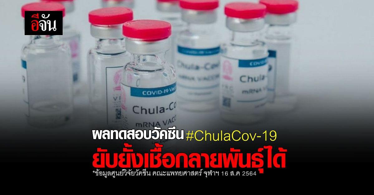 จุฬาฯ เผย ผลทดสอบ วัคซีน ChulaCov-19 ระยะแรก ยับยั้งเชื้อกลายพันธุ์ได้