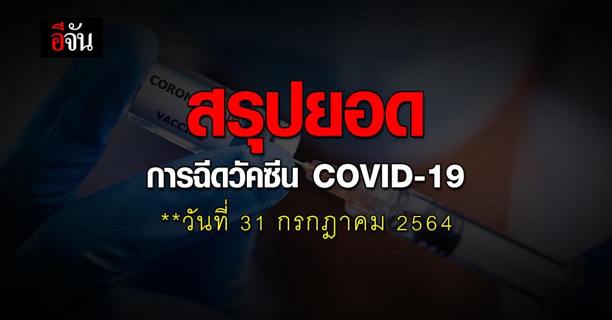 ศบค. รายงาน ยอดฉีดวัคซีน โควิด วันที่ 31 กรกฎาคม 2564