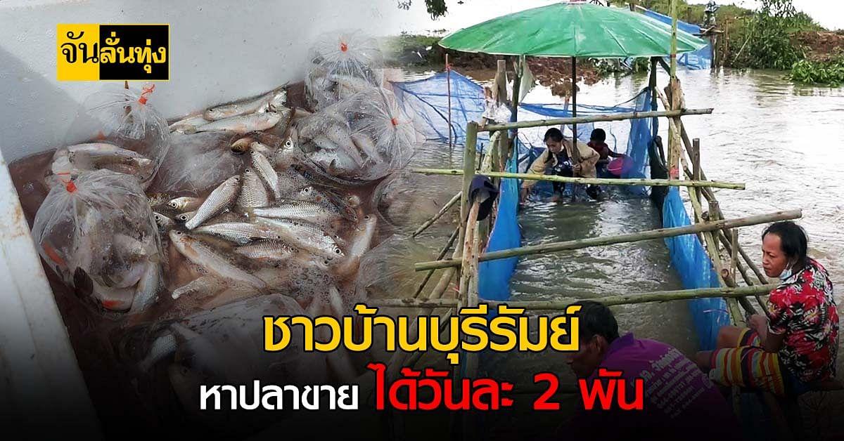 หน้าน้ำหลาก ชาวบ้านบุรีรัมย์ หาปลาขาย ได้วันละ 2,000 บาท