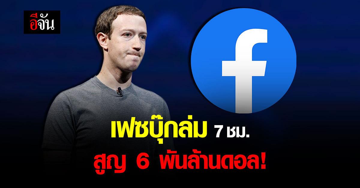 มาร์กโพสต์ขอโทษ เฟซบุ๊ก และ 3 แอปฯ ล่ม สูญ 6 พันล้าน