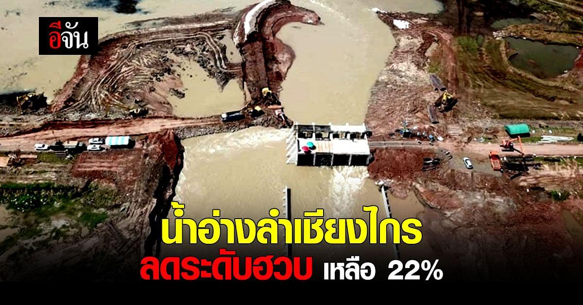 จนท.เร่งซ่อมแนวคันดิน อ่างเก็บน้ำเชียงไกร หลังน้ำลดระดับเหลือ 22%