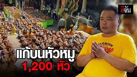 หนุ่มนำหัวหมู 1,200 หัว แก้บนหลวงพ่อสมหวัง หลังถูกหวย 12 ล้าน