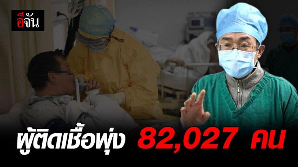 ยอดผู้ป่วยโควิด-19 สะสมสูงเกิน 82,027 คน ดับ 2,801 ราย