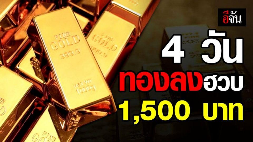 วันนี้ทองลง 100 รวม 4 วัน ลงกว่า 1,500 บาท