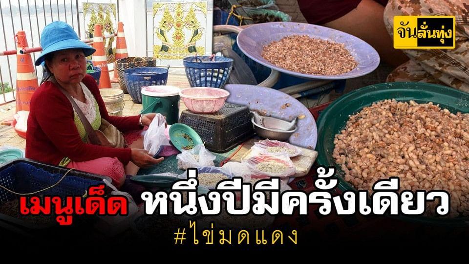 บรรยากาศตลาดจุดผ่อนไทยลาวคึกคัก คนแห่ซื้อสินค้าและอาหารป่าตามฤดูกาลโดยเฉพาะไข่มดแดง