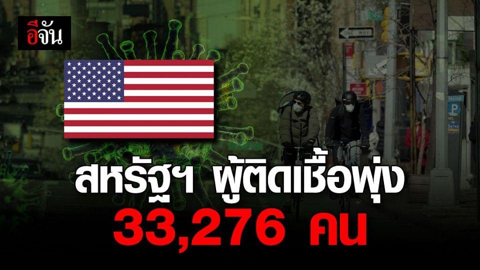 ยอดผู้ติดเชื้อโควิด-19 สหรัฐฯ พุ่งแตะ 33,276 คน ดับ 417 ราย