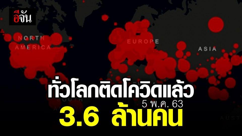 โควิดติดทั่วโลกกว่า  3,644,840 คน เสียชีวิตรวม 252,366 คน
