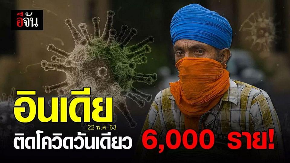 อินเดีย พบผู้ป่วยโควิด-19 ทะลุ 6,000 รายในวันเดียว!