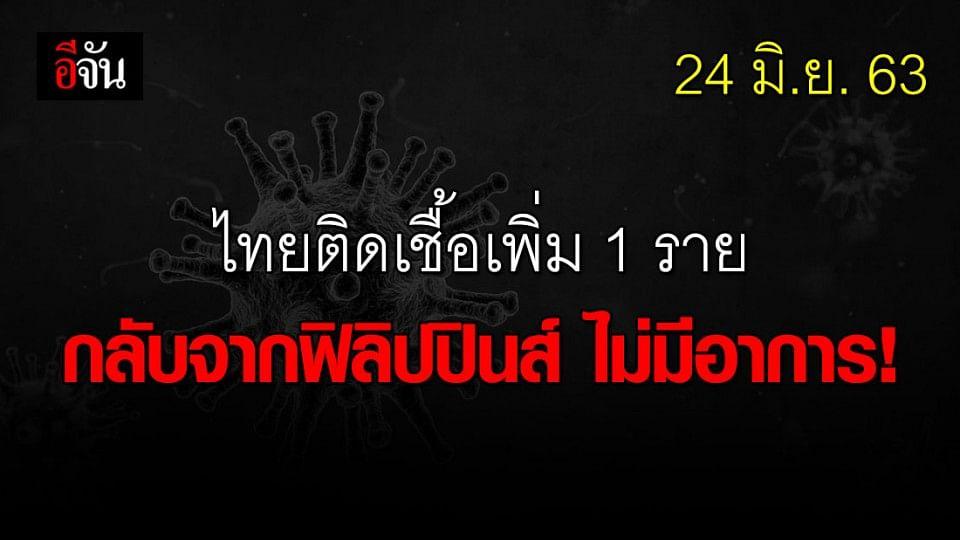 ศบค.แถลง วันนี้ไทยพบผู้ติดเชื้อเพิ่ม 1  ราย มาจากประเทศฟิลิปปินส์