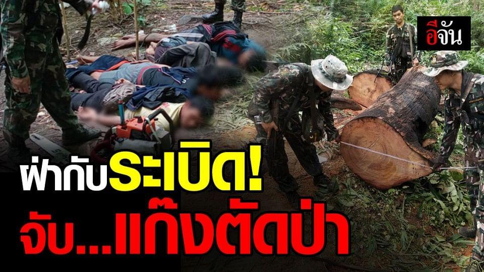 จนท. Smart patrol เขตรักษาพันธุ์สัตว์ป่ายอดโดม ฝ่ากับระเบิด บุกจับแก๊งตัดป่า