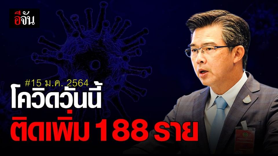 ศบค. แถลง สถานการณ์โควิด ในไทยวันนี้ ติดเชื้อรายใหม่ 188 ราย ไม่มีผู้เสียชีวิตเพิ่ม