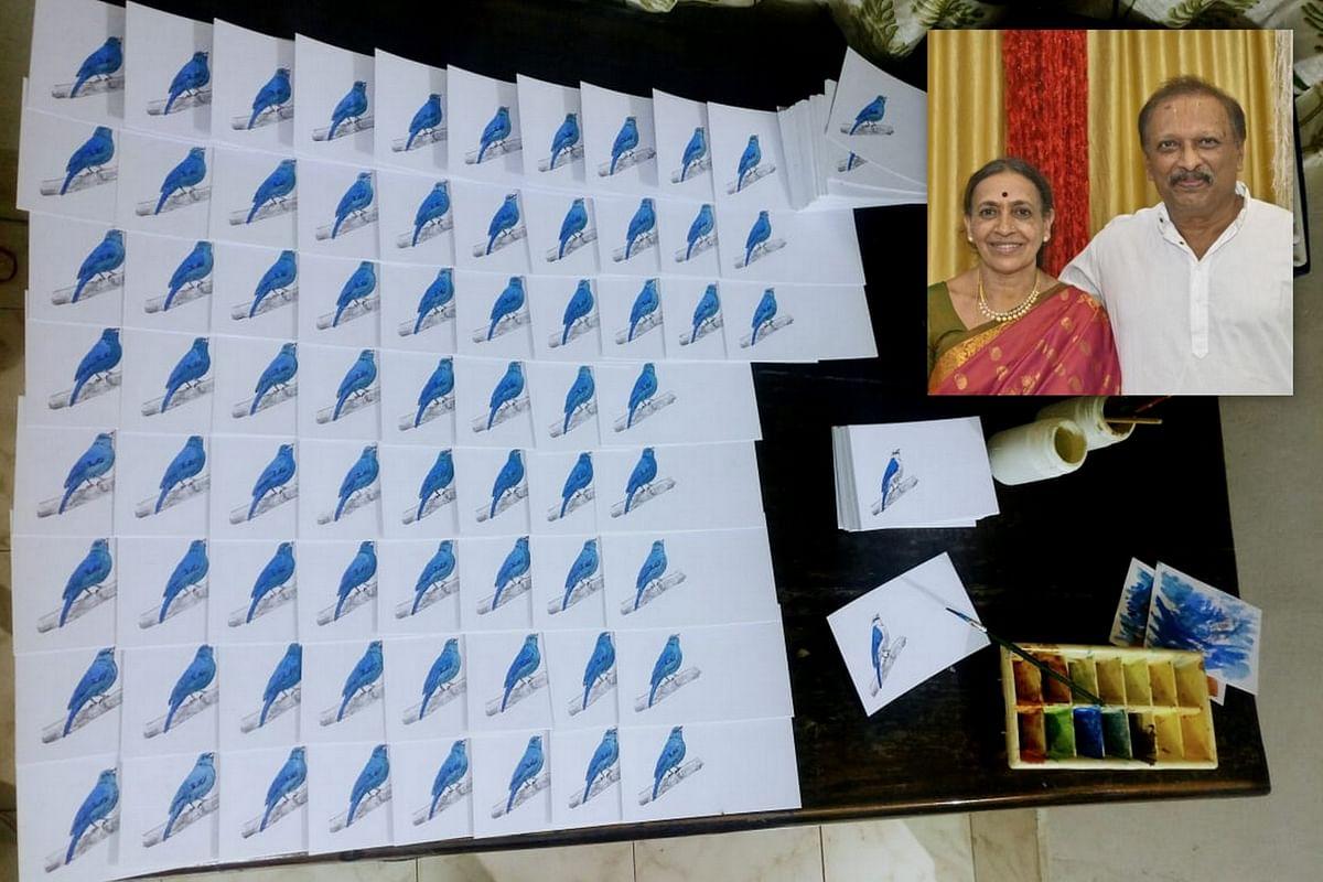 ಸಿದ್ಧತೆಯ ಹಂತದಲ್ಲಿ ಸಂದೇಶಪತ್ರಗಳು. ಒಳಚಿತ್ರ: ಡಾ. ನರಸಿಂಹನ್ ದಂಪತಿ