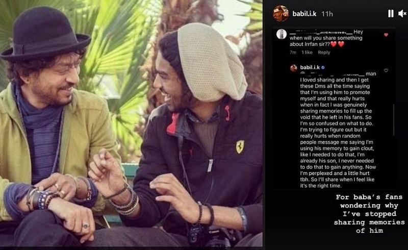 Irrfan  khan  son  babil  khan  reveals  why  he  stop  sharing irrfan memories