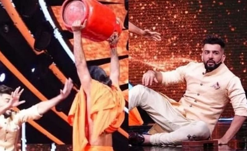 baba Ramdev picks cylinder hand set Indian idol 12 jay bhanushali looking shocked