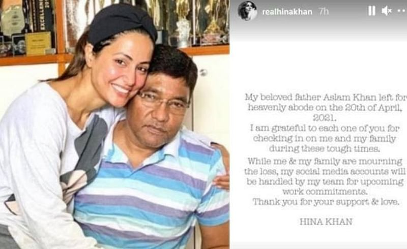 Hina khan first  social media  post  after  her  father demise