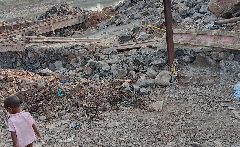 The boundary wall built around Bhairavnath lake was demolished by unknown person