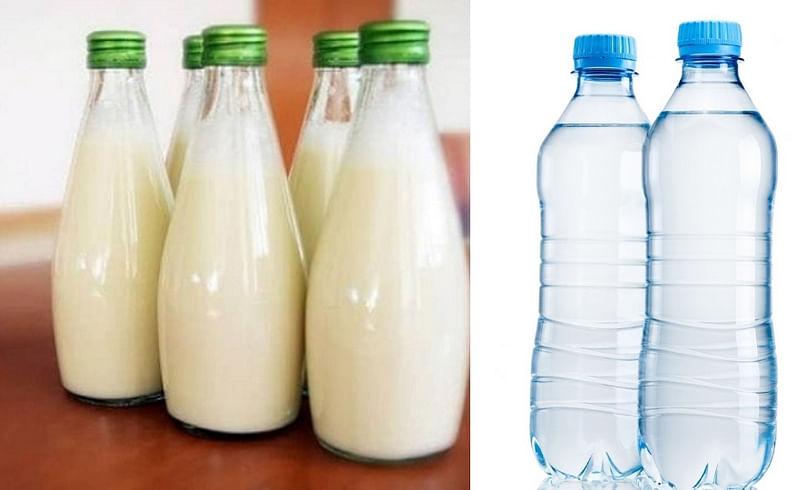 milk, pani bottel